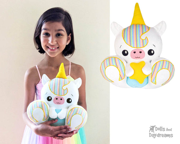 BFF Big Footed Friends Unicorn Sewing Pattern DIY Kawaii Cute Plush Toy by Dolls And Daydreams