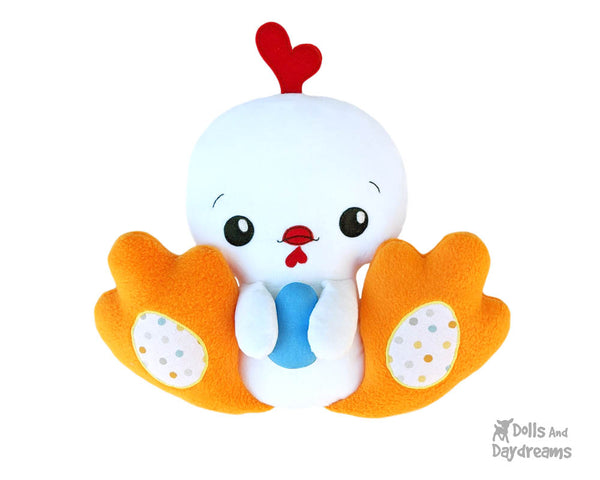 BFF Big Footed Friends Chick Hen Sewing Pattern DIY childrens Chicken Plush toy by Dolls And Daydreams
