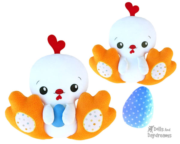 BFF Big Footed Friends Hen Cock Chicken Sewing Pattern DIY Kids Plush toy by Dolls And Daydreams