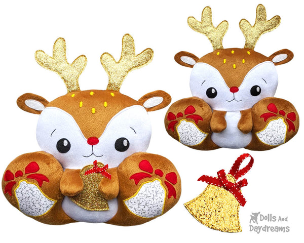BFF Big Footed Friends Reindeer Sewing Pattern DIY Christmas Deer Cute Plush Soft Toy PDF by Dolls And Daydreams