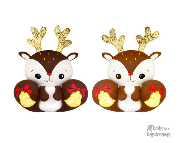 ITH Machine Embroidery BFF Big Footed Friends Reindeer Pattern DIY Christmas Deer Kawaii Plushie Toy In The Hoop by Dolls And Daydreams