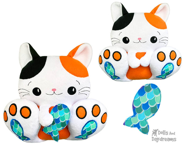 BFF Big Footed Friends In The Hoop Machine Embroidery Kitty Cat DIY Kawaii ITH Cute Kitty Plush Toy by Dolls And Daydreams