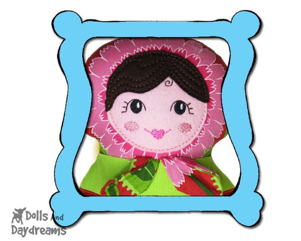 Machine Embroidery Babushka Doll Face Pattern - Dolls And Daydreams - 1
