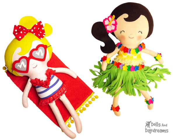 Hula Beach babes doll Girl Sewing Pattern - by Dolls And Daydreams