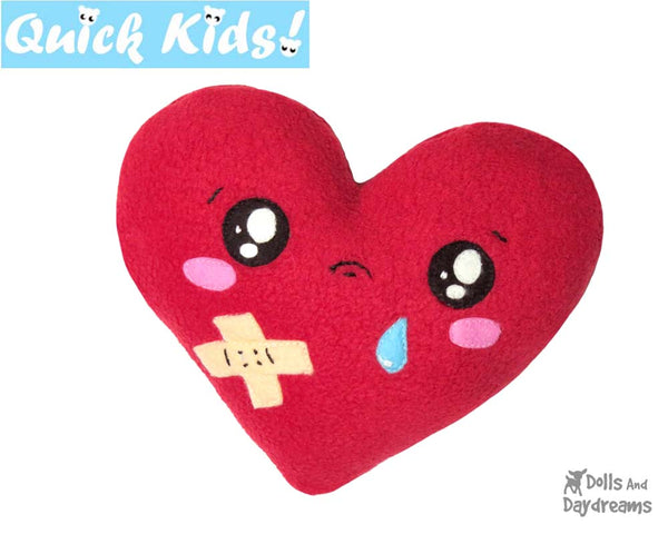 Quick Kids Booboo Heart Sewing Pattern hot and cold pack for kids injuries DIY softie plush