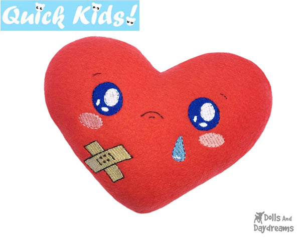 ITH Quick Kids Booboo Heart Pattern Soft Hot and Cold Pack by Dolls And Daydreams machine embroidery diy for kids injuries
