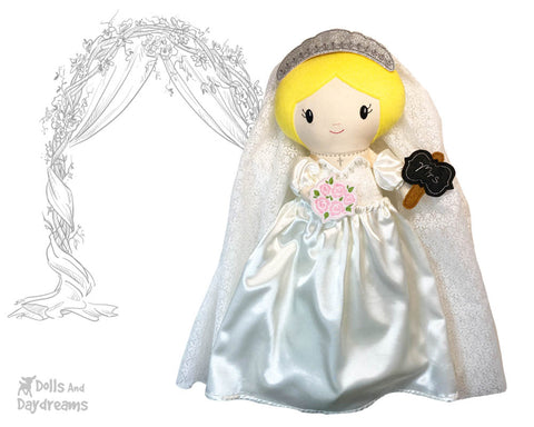 In The Hoop Machine Embroidery Bride Pattern by Dolls And Daydreams ITH bridal shower wedding DIY customizable cloth doll