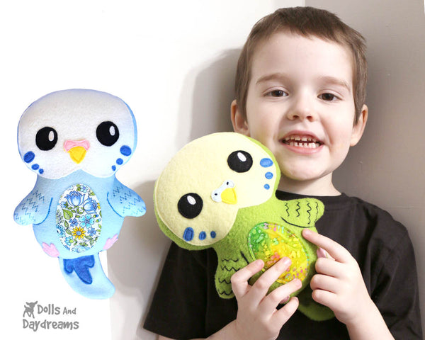 Budgerigar Parakeet Bird PDF Sewing Pattern by Dolls And Daydreams  DIY Soft Toy plush