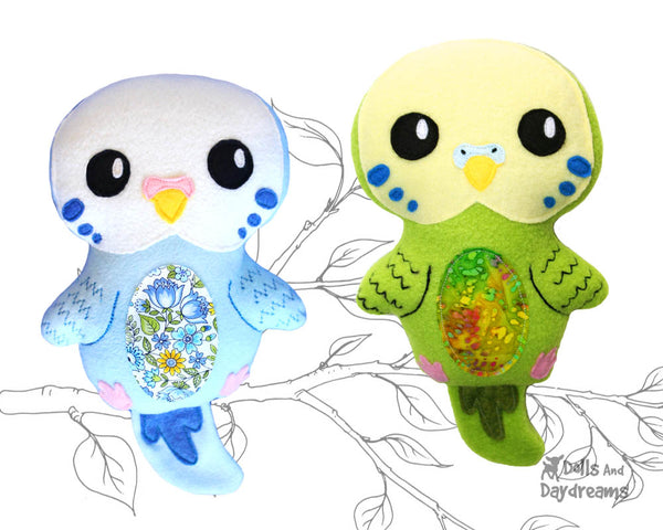 Budgerigar Parakeet Bird PDF Sewing Pattern by Dolls And Daydreams  kids DIY Soft Toy plushie