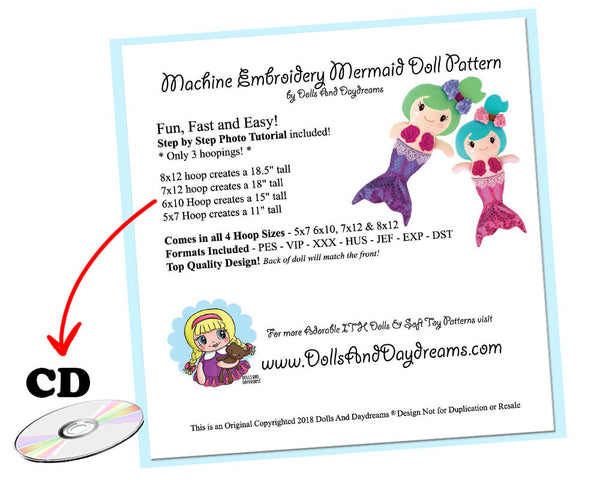 ITH Mermaid Doll Pattern - Compact Disc