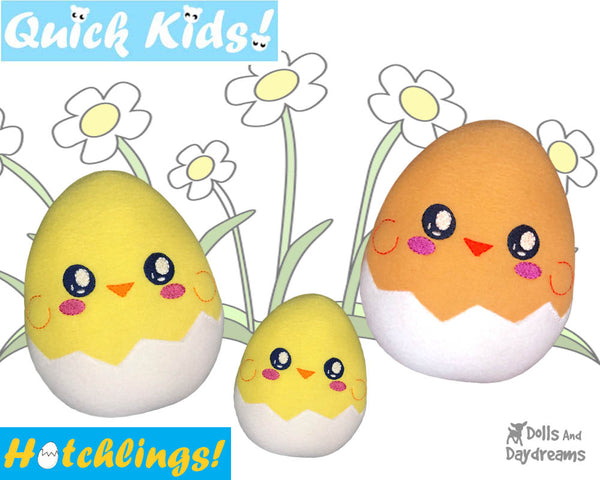In The Hoop Quick Kids Chick Hatchling Easter Egg Stuffie ITH machine embroidery Pattern Plush Toy by Dolls And Daydreams