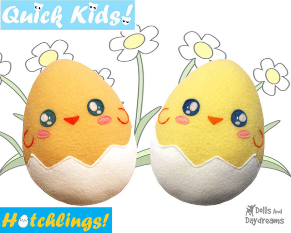 Quick Kids Chick Hatchling Easter Egg Softie Sewing Pattern Plush Toy by Dolls And Daydreams