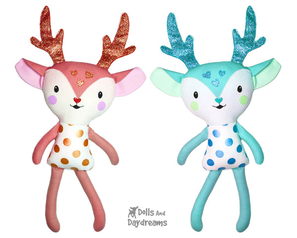 Cute Caribou Reindeer Soft Toy Plush Sewing Pattern - Dolls And Daydreams magical plushie softie