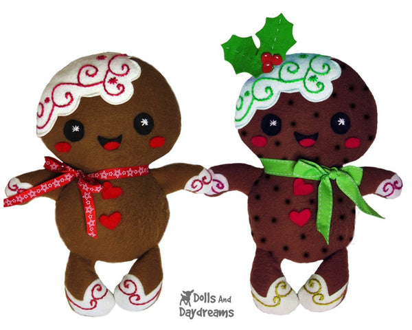 Gingerbread Christmas Pud Sewing Pattern - Dolls And Daydreams - 1