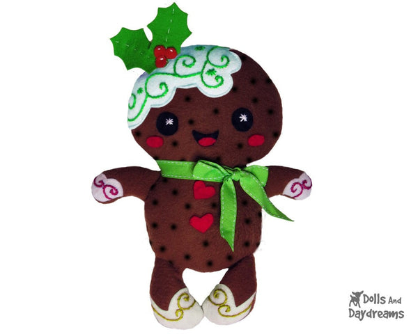 Gingerbread Christmas Pud Sewing Pattern - Dolls And Daydreams - 3