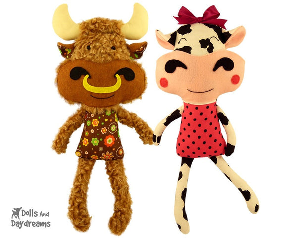 Cow Sewing Pattern - Dolls And Daydreams - 1