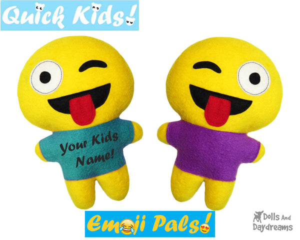 Quick Kids Crazy Emoji Sewing Pattern by Dolls And Daydreams Easy DIY Soft Toy plushie
