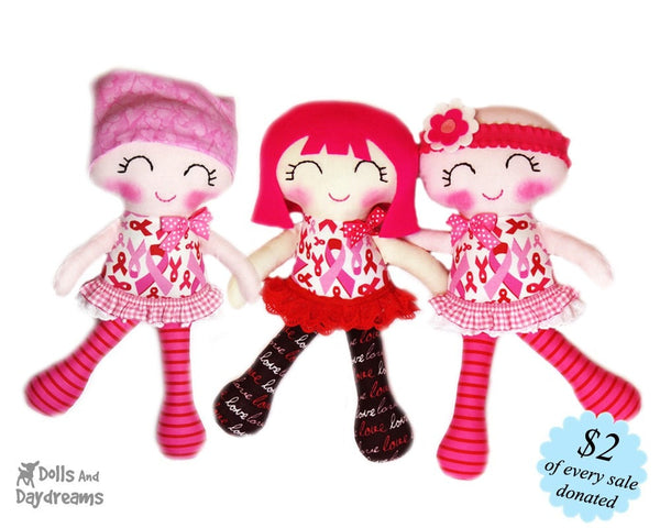 Breast Cancer Doll Sewing Pattern - Cuties for a Cure - Dolls And Daydreams - 1