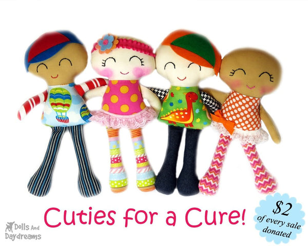 Breast Cancer Doll Sewing Pattern - Cuties for a Cure - Dolls And Daydreams - 3