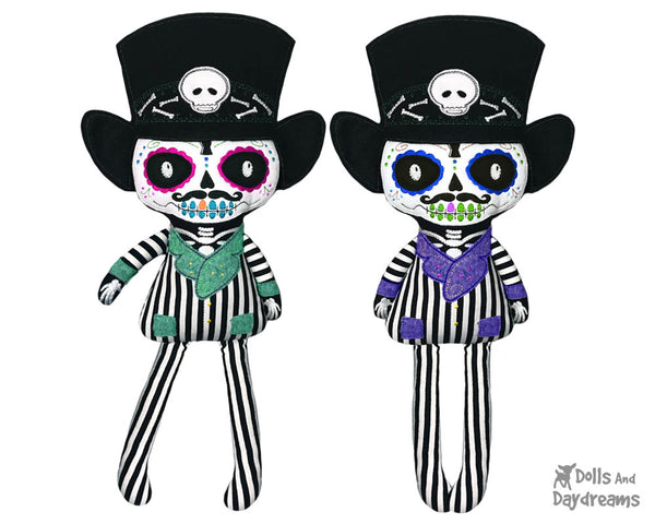 Embroidery Machine Dia de los Muertos Day of the Dead Boy Pattern by Dolls And Daydreams cloth doll diy plush