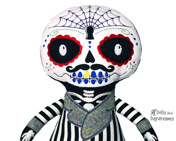 In the Hoop Dia de los Muertos Day of the Dead Boy Pattern by Dolls And Daydreams cloth doll diy plush