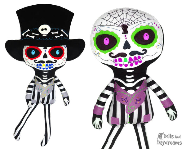 Day of the Dead Boy Sewing Pattern by Dolls And Daydreams fabric doll diy tutorial
