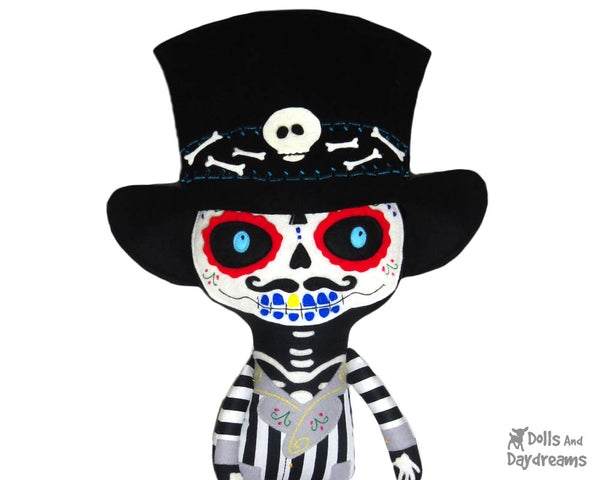 Day of the Dead Dia de los Muertos  Boy Sewing Pattern by Dolls And Daydreams cloth doll diy tutorial