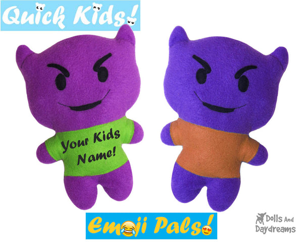 Quick Kids Devil Emoji Sewing Pattern by Dolls And Daydreams Easy DIY Soft Toy plushie