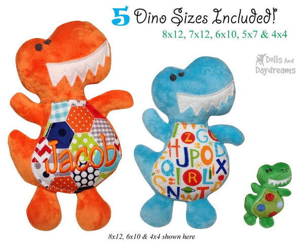 Embroidery Machine Dinosaur ITH Pattern - Dolls And Daydreams - 3