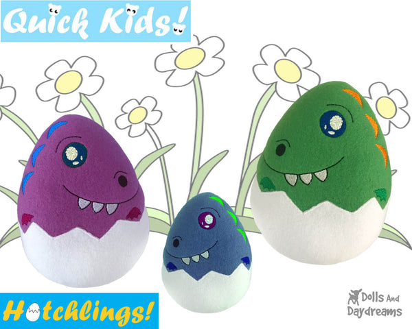 In The Hoop Quick Kids Dino dinosaur Hatchling Easter Egg Stuffie ITH machine embroidery Pattern Plush Toy by Dolls And Daydreams