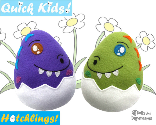 Quick Kids Dino Hatchling Softie Sewing Pattern soft toy Plushie diy by Dolls And Daydreams