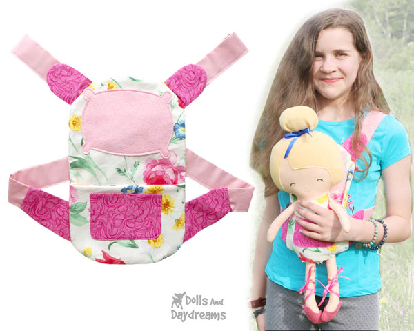 doll carrier Sewing Pattern by Dolls And Daydreams DIY doll carry case bag baby wearing
