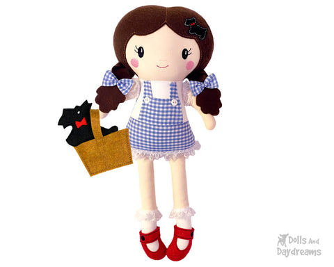 Wizard of Oz Dorothy Cloth doll machine embroidery n the hoop pattern by dolls and daydreams