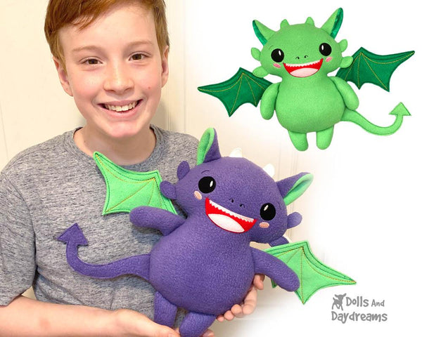 Embroidery Machine Dragon ITH Pattern In the hoop diy softie toy plush by Dolls And Daydreams - 1