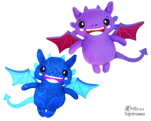 Dragon PDF Sewing Pattern cute diy softie kids toy plush by Dolls And Daydreams