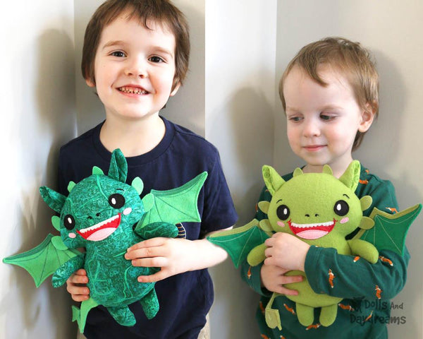 Dragon PDF Sewing Pattern cute diy childrens plushie toy by Dolls And Daydreams