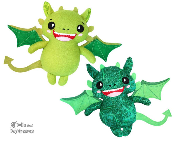 Dragon PDF Sewing Pattern cute diy kids plushie toy by Dolls And Daydreams