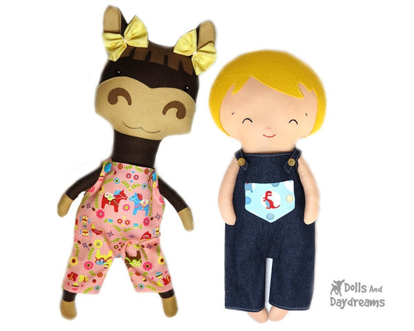 Dungarees & Overall Shorts Double Pack Sewing Pattern - Dolls And Daydreams - 2