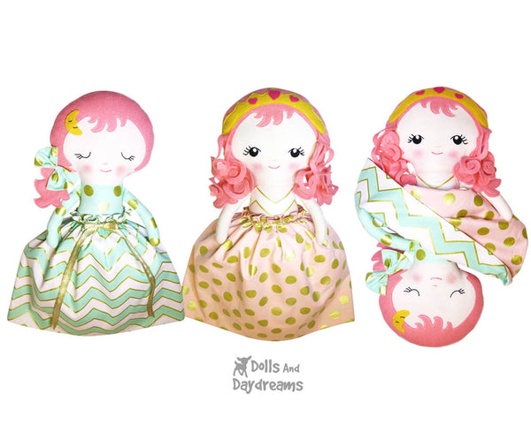 Topsy Turvy Cloth Fabric Doll Sleeping Beauty PDF Sewing Pattern - Dolls And Daydreams
