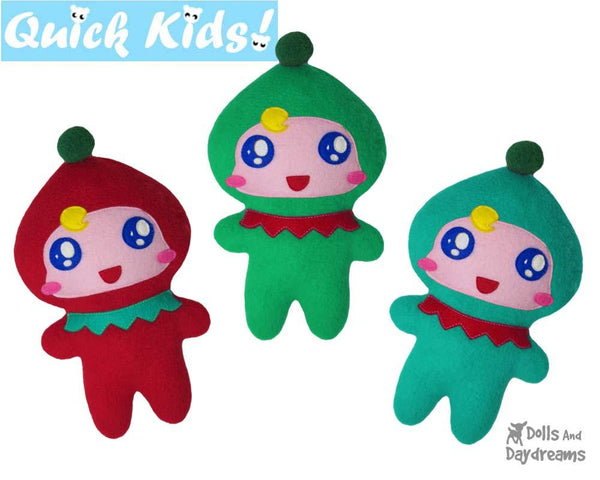 Quick Kids Christmas Elf Sewing Pattern by Dolls And Daydreams kids xmas diy plush soft toy