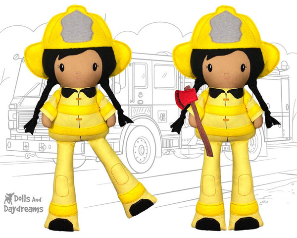 ITH Firefighter Pattern machine embroidery fireman diy kids toy in the hoop doll by dolls and daydreams