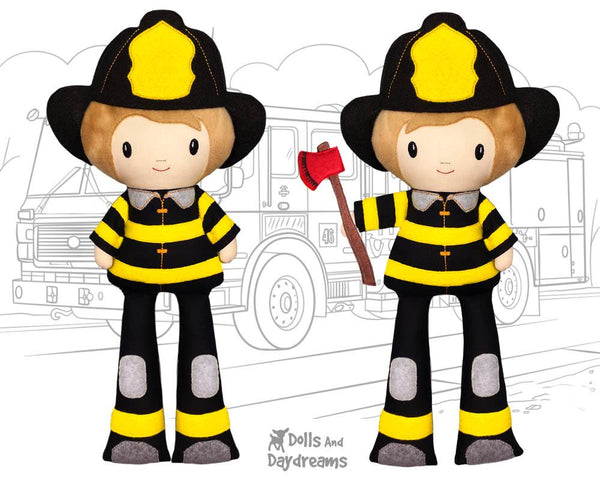 ITH Firefighter Pattern machine embroidery fireman in the hoop doll by dolls and daydreams