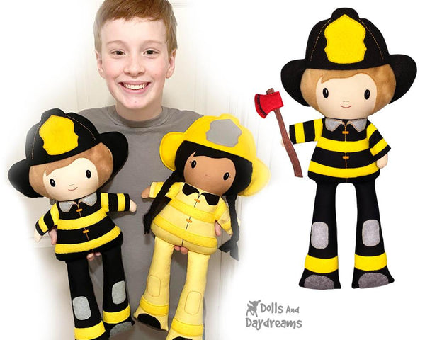 ITH Firefighter Pattern machine embroidery fireman diy in the hoop doll by dolls and daydreams