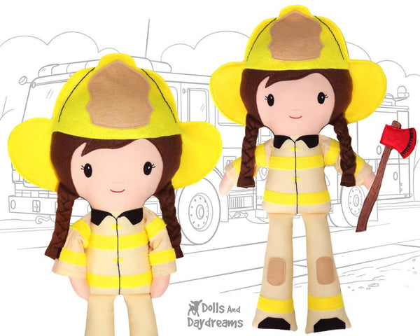 Firefighter Cloth Doll Sewing Pattern  Female Fireman Toy Girl Power by dolls and daydreams