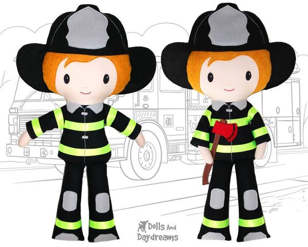 Firefighter Cloth Doll Sewing Pattern  Fireman Toy by dolls and daydreams