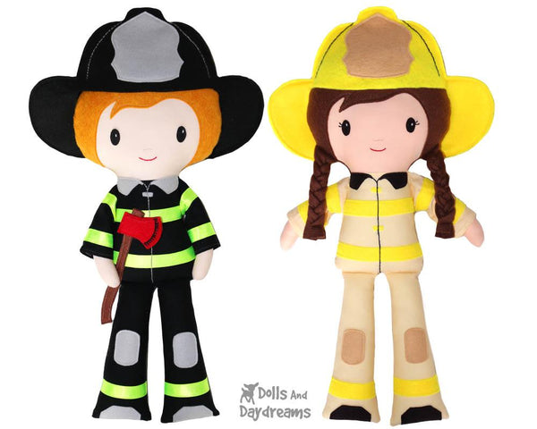Firefighter Cloth Doll Sewing Pattern  Fireman by dolls and daydreams