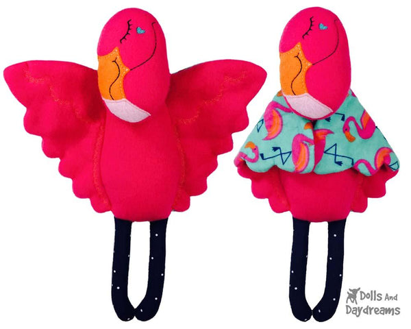 Flamingo Machine Embroidery Baby Blanket Pattern by Dolls And Daydreams DIY Childrens toy  In The Hoop