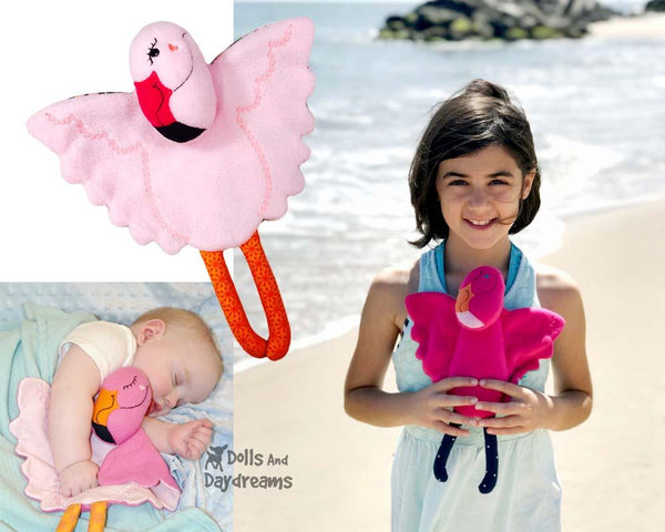 ITH Flamingo Machine Embroidery Baby Blanket and soft toy Pattern by Dolls And Daydreams