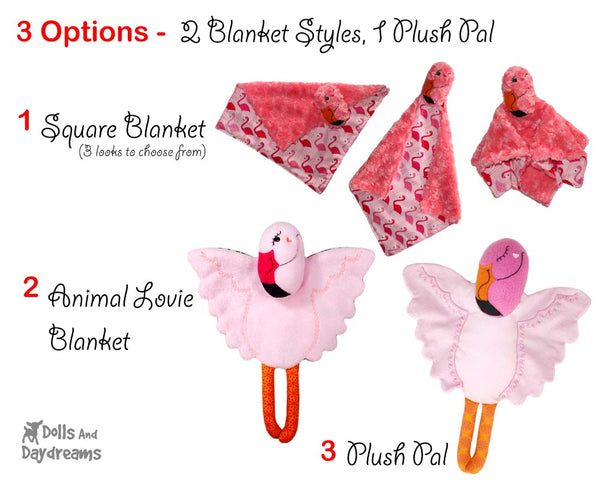 Flamingo Baby Blanket Sewing Pattern Kids Toy by Dolls And Daydreams  DIY Lovie