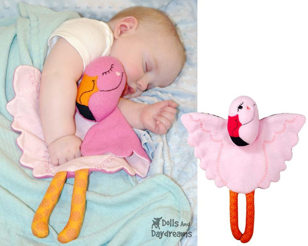 Flamingo Baby Blanket Sewing Pattern by Dolls And Daydreams  DIY Lovie